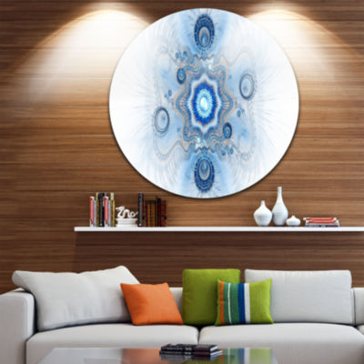 Designart Cabalistic Blue Star Flower Abstract Round Circle Metal Wall Art