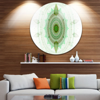 Designart Light Green Cryptical Sphere Abstract Round Circle Metal Wall Art Panel