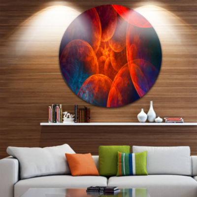 Designart Biblical Sky with Red Clouds Abstract Round Circle Metal Wall Art Panel
