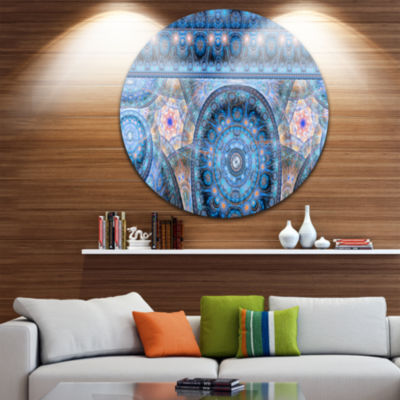 Designart Light Blue Living Cells Fractal Design Abstract Round Circle Metal Wall Art