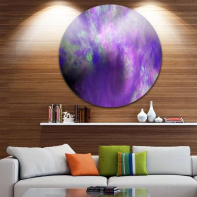 Designart Perfect Light Purple Starry Sky AbstractRound Circle Metal Wall Art