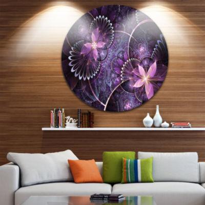 Designart Fractal Flower Soft Purple Digital Art Large Flower Metal Circle Wall Art