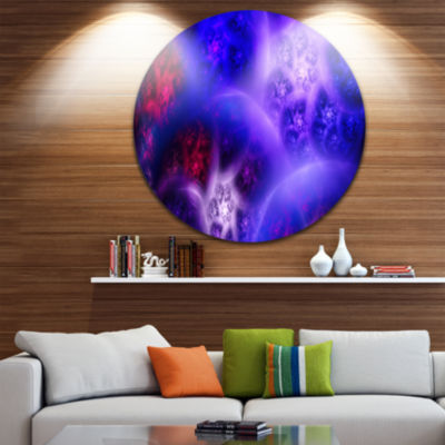 Designart Bright Blue Magic Stormy Sky Abstract Round Circle Metal Wall Art