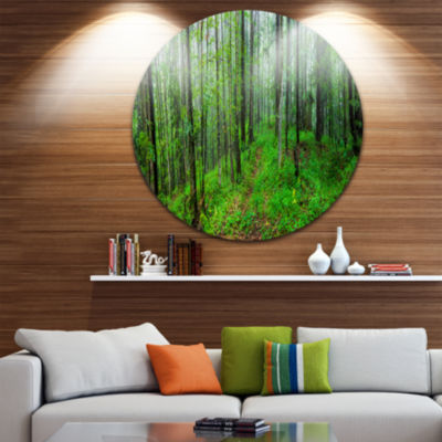 Designart Green Wild Forest with Dense Trees Forest Metal Circle Wall Art