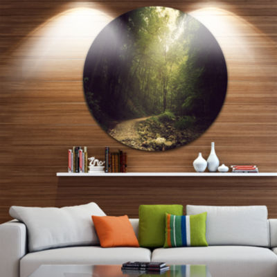Designart Wild Way into the Dark Forest Forest Metal Circle Wall Art