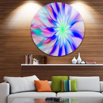 Designart Exotic Blue Fractal Spiral Flower Abstract Round Circle Metal Wall Art