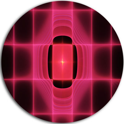 Designart Pink Thermal Infrared Visor Abstract Round Circle Metal Wall Art
