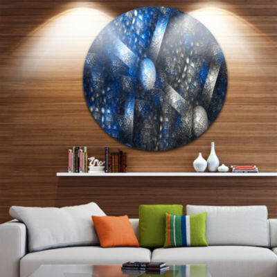 Designart Crystal Cell Dark Blue Steel Texture Abstract Round Circle Metal Wall Art Panel