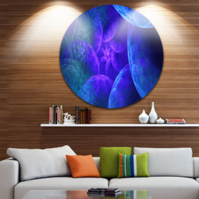 Designart Biblical Sky with Blue Clouds Abstract Round Circle Metal Wall Art Panel