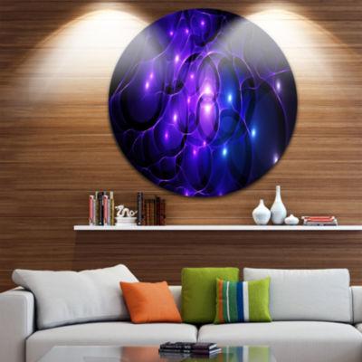 Designart Blue Fractal Space Circles Abstract Round Circle Metal Wall Art