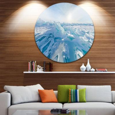 Designart Blue Ice Hummocks Baikal Panorama Landscape Metal Circle Wall Art