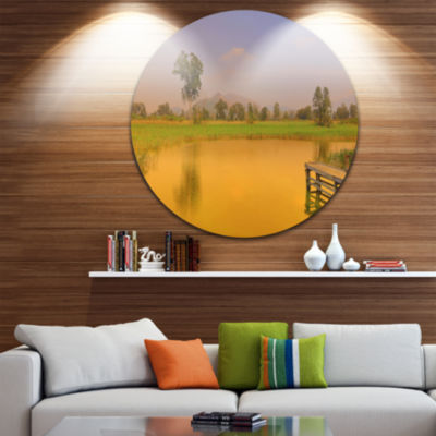 Designart Wetland of Nam Sang Wai Orange Large Seascape Art Metal Circle Wall Art