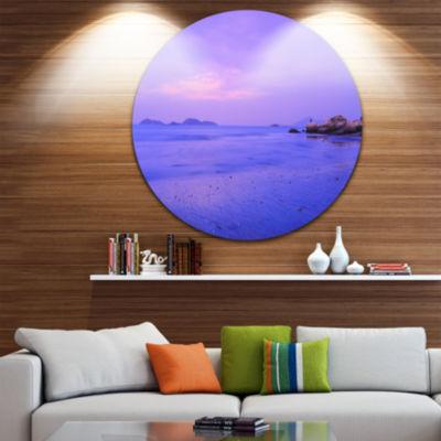 Designart Blue Sunset at Lung Kwu Tan Coastline Landscape Metal Circle Wall Art