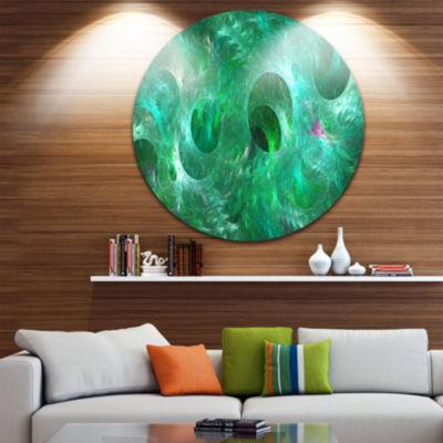 Designart Green Fractal Glass Texture Abstract Round Circle Metal Wall Art