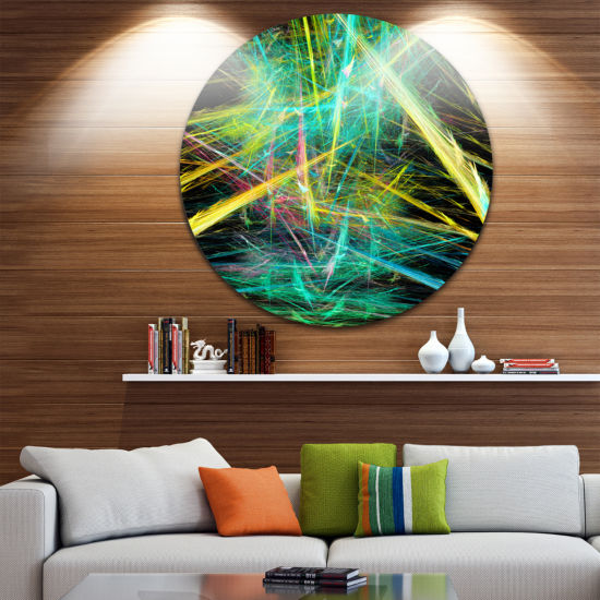 Designart Green Yellow Magical Fractal Pattern Abstract Round Circle Metal Wall Art