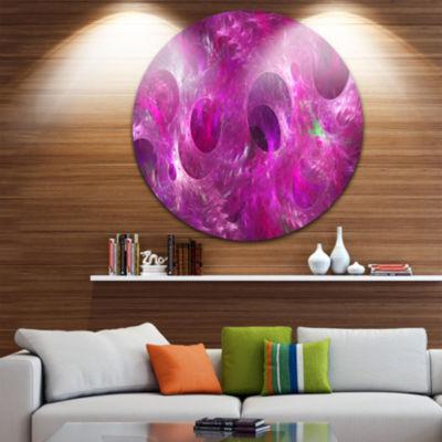 Designart Dark Pink Fractal Glass Texture AbstractRound Circle Metal Wall Art
