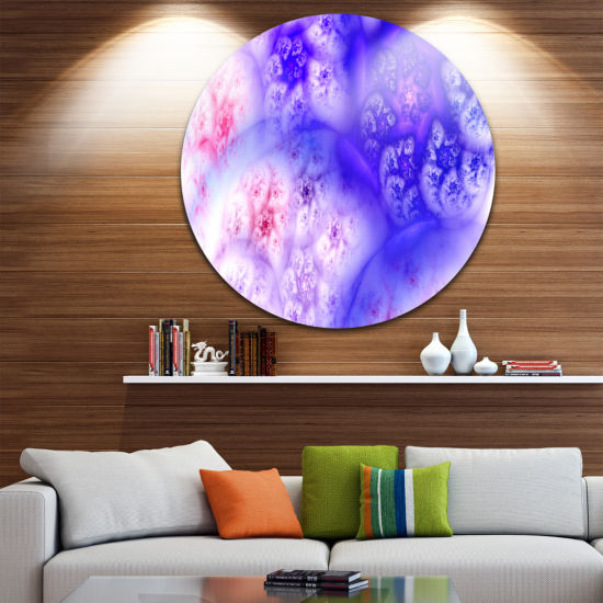 Designart Light Blue Magic Stormy Sky Abstract Round Circle Metal Wall Art