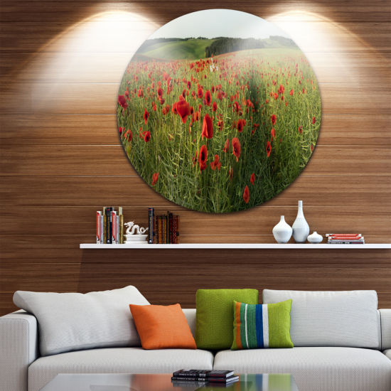 Designart Field of Red Poppies Flowers Landscape Metal Circle Wall Art