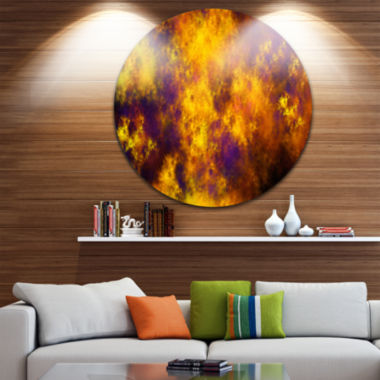 Designart Cloudy Orange Starry Fractal Sky Abstract Round Circle Metal Wall Art