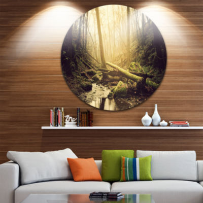 Designart Stream in the Dark Wild Forest Forest Metal Circle Wall Art