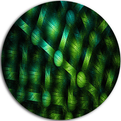 Designart Crystal Cell Green Steel Texture Abstract Round Circle Metal Wall Art