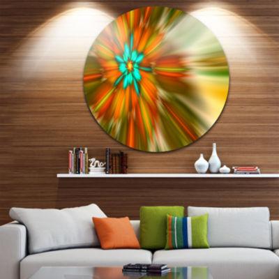 Designart Rotating Bright Fractal Flower AbstractRound Circle Metal Wall Art