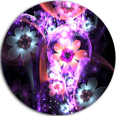 Designart Fractal Flower Dark Purple Digital Art Large Flower Metal Circle Wall Art