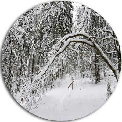 Designart Foggy Black and White Winter Forest Forest Metal Circle Wall Arts