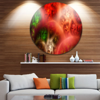 Designart Red Magic Stormy Sky Abstract Round Circle Metal Wall Art