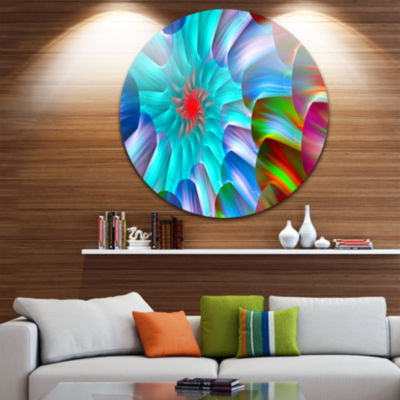 Designart Multi Layered Fractal Spirals Abstract Round Circle Metal Wall Art