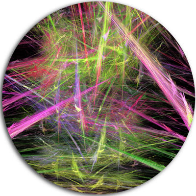 Designart Green Pink Magical Fractal Pattern Abstract Round Circle Metal Wall Art