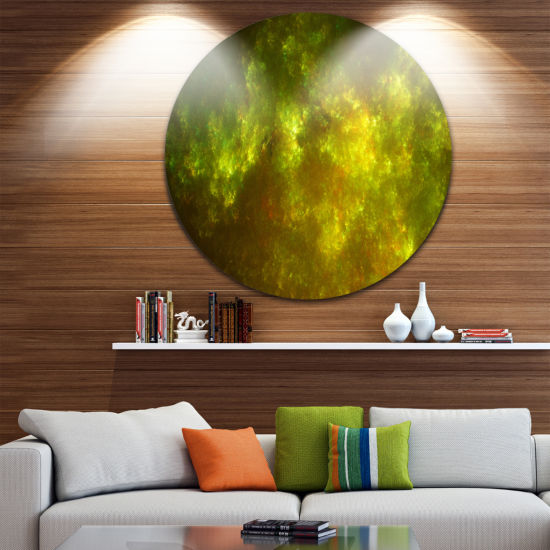 Designart Clear Golden Starry Fractal Sky AbstractRound Circle Metal Wall Art