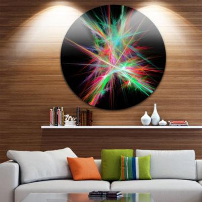 Designart Green Red Spectrum of Light Abstract Round Circle Metal Wall Art