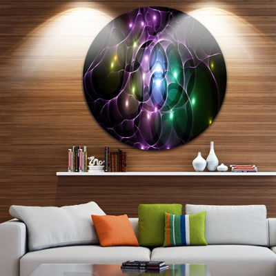 Designart Multi Color Fractal Space Circles Abstract Round Circle Metal Wall Art