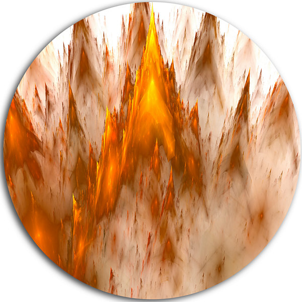 Designart Brown Fractal Crystals Design Abstract Round Circle Metal Wall Art