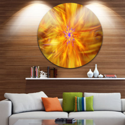 Designart Glowing Brightest Star Exotic Flower Abstract Round Circle Metal Wall Art
