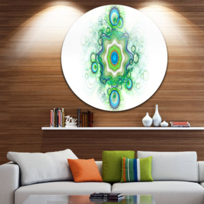 Designart Cabalistic Star Fractal Flower AbstractRound Circle Metal Wall Art