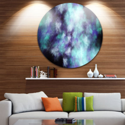 Designart Perfect Flowery Starry Sky Abstract Round Circle Metal Wall Art