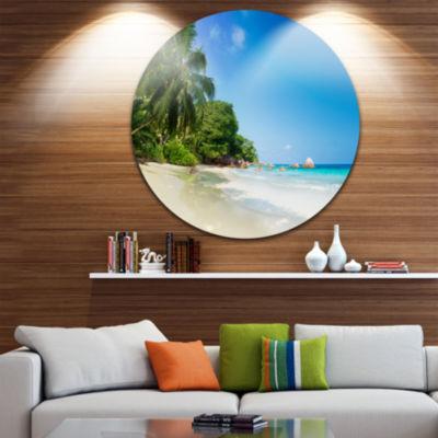 Designart Beautiful Praslin Island Seychelles Large Seascape Art Metal Circle Wall Art