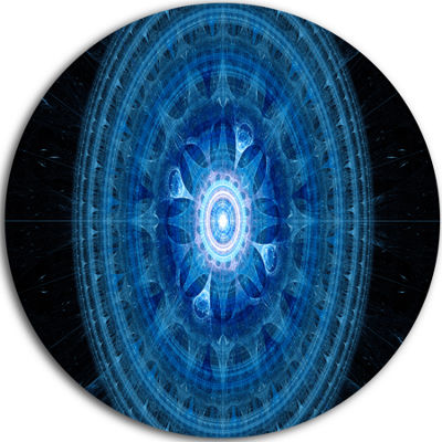 Designart Bright Blue Fractal Sphere Abstract Round Circle Metal Wall Art Panel