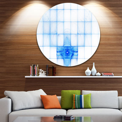 Designart Bat Outline on Radar Screen Abstract Round Circle Metal Wall Art