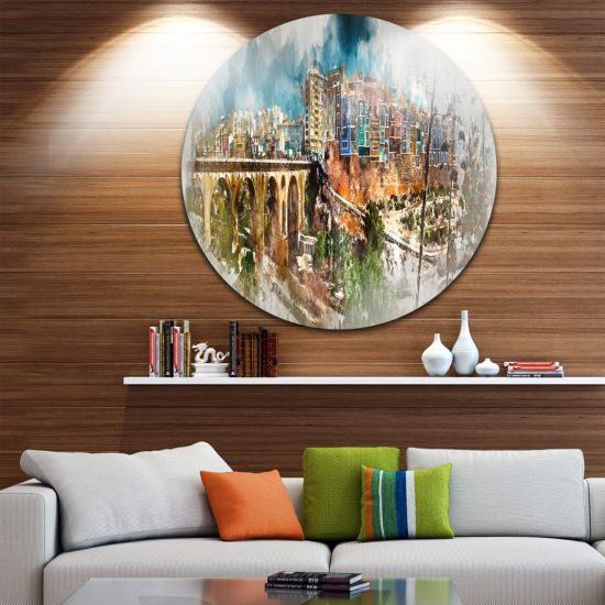 Designart Villajoyosa Town Digital Art Panorama Cityscape Metal Circle Wall Art