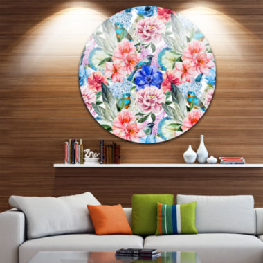 Designart Colorful Flowers and Birds Watercolor Large Flower Metal Circle Wall Art