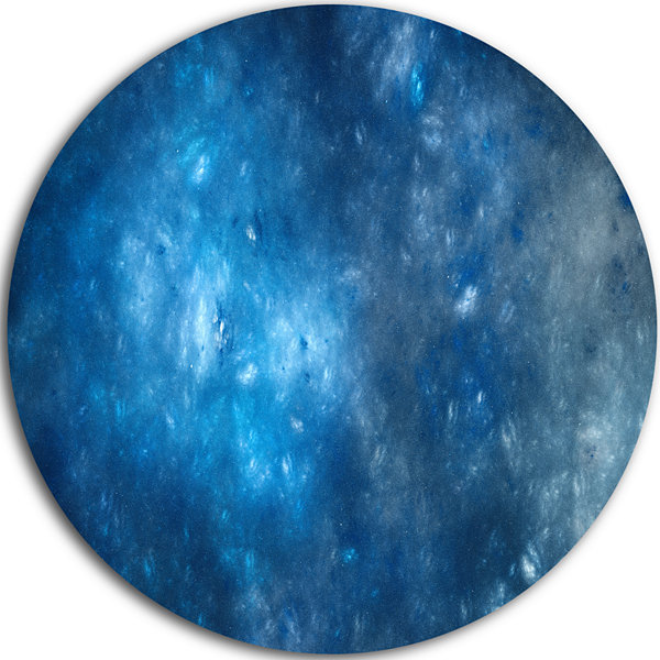 Designart Clear Blue Starry Fractal Sky Abstract Round Circle Metal Wall Art