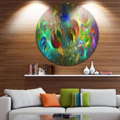 Designart Multi Color Glowing Circles Abstract Round Circle Metal Wall Art