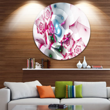 Designart Pink Roses Fractal Design Abstract RoundCircle Metal Wall Art