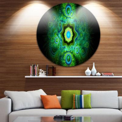 Designart Cabalistic Bright Green Texture AbstractRound Circle Metal Wall Art