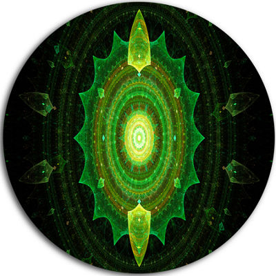 Designart Cabalistic Green Fractal Sphere AbstractRound Circle Metal Wall Art