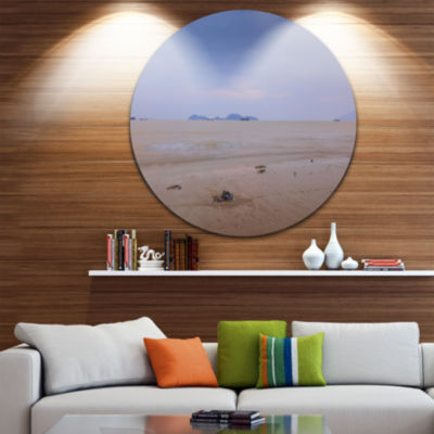 Designart Soft Blue Sunset at Lung Kwu Tan Beach Landscape Metal Circle Wall Art