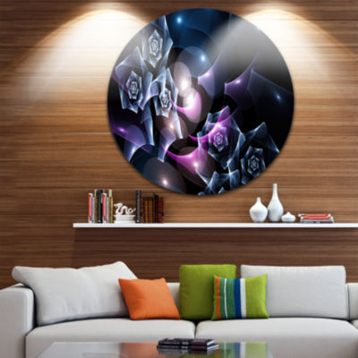 Designart Glowing Bouquet of Beautiful Roses Abstract Round Circle Metal Wall Art